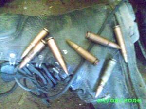 munitions récupérées sur un groupe de bandits à main armée