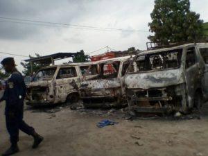 véhicules incendiés à Makala le 17/05/2017